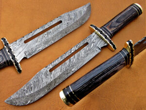 DAMASCUS STEEL BLADE BOWIE KNIFE HANDLE MATERIAL BLACK SHEET OVERALL 12 INCH