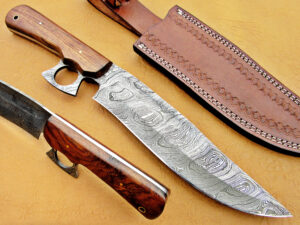 DAMASCUS STEEL BLADE BOWIE KNIFE HANDLE MATERIAL ROSE WOOD OVERALL 12 INCH