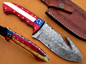 DAMASCUS STEEL BLADE KNIFE HUNTING KNIFE AMERICAN HANDLE OVERALL 9 INCH