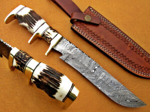 DAMASCUS STEEL BLADE BOWIE KNIFE HANDLE MATERIAL DEER ANTLER BRASS CLIP OVERALL 14 INCH