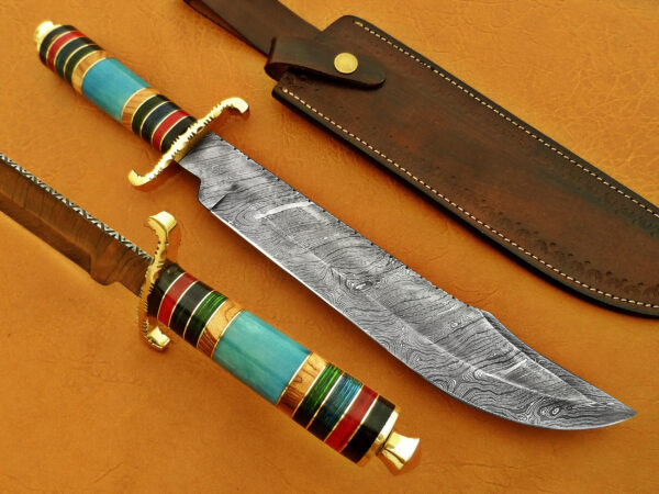 DAMASCUS STEEL BLADE BOWIE KNIFE HANDLE MATERIAL BLUE BONE RED BLACK SHEET OVERALL 16 INCH