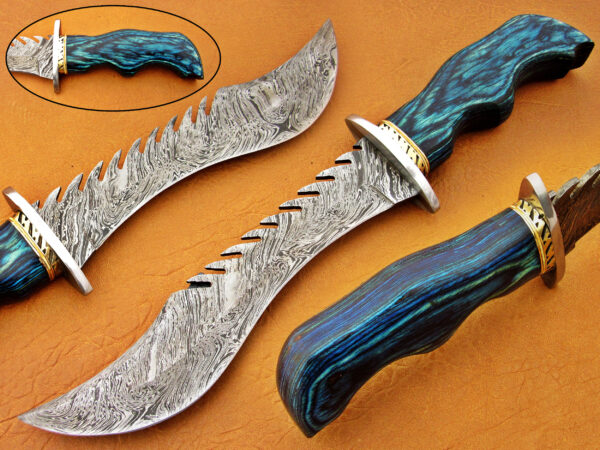 DAMASCUS STEEL BLADE BOWIE KNIFE HANDLE MATERIAL BLUE SHEET OVERALL 14 INCH