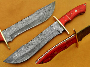 DAMASCUS STEEL BLADE BOWIE KNIFE HANDLE MATERIAL RED ROSE WOOD OVERALL 12 INCH
