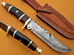 DAMASCUS STEEL BLADE BOWIE KNIFE HANDLE MATERIAL OLIVE WOOD BUFFALO HORN OVERALL 12 INCH