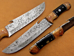 DAMASCUS STEEL BLADE BOWIE KNIFE HANDLE MATERIAL ROSE WOOD BUFFALO HORN OVERALL 12 INCH