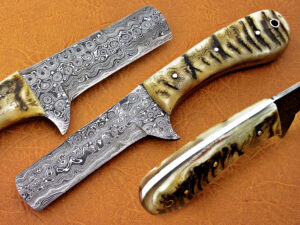 DAMASCUS STEEL BLADE COWBOY HUNTING HANDLE MATERIAL RAM HORN OVERALL 8 INCH