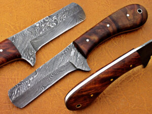 DAMASCUS STEEL BLADE COWBOY HUNTING HANDLE MATERIAL WALNUT WOOD OVERALL 8 INCH