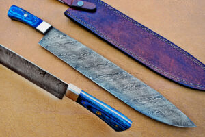 DAMASCUS STEEL BLADE BOWIE KNIFE HANDLE MATERIAL BLUE SHEET OVERALL 15 INCH