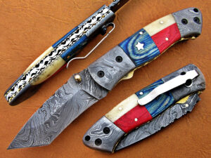 DAMASCUS STEEL BLADE KNIFE FOLDING KNIFE AMERICAN HANDLE OVERALL 8.5 INCH