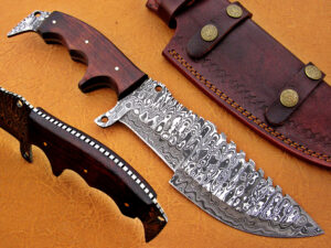DAMASCUS STEEL BLADE TRACKER KNIFE HANDLE MATERIAL WALNUT WOOD OVERALL 12 INCH