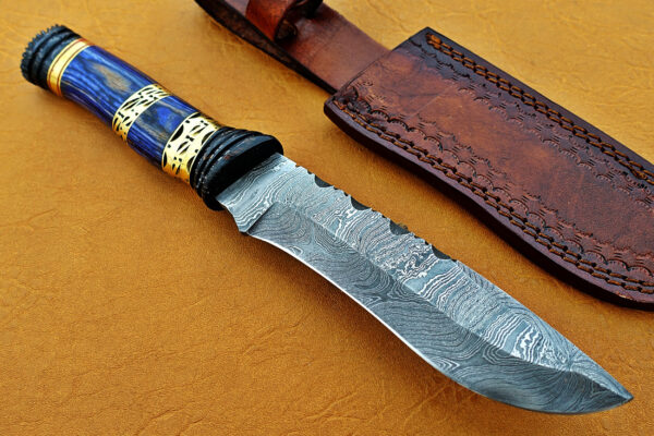 DAMASCUS STEEL BLADE BOWIE KNIFE HANDLE MATERIAL BLUE SHEET OVERALL 12 INCH