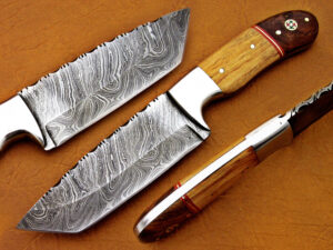 DAMASCUS STEEL BLADE TANTO HUNTING HANDLE MATERIAL WALNUT WOOD OLIVE WOOD STEEL WALNUT WOOD OVERALL 8.5 INCH