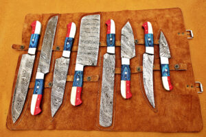 DAMASCUS STEEL BLADE KNIFE CHEF SET AMERICAN HANDLE OVERALL 6 TO 12 INCH
