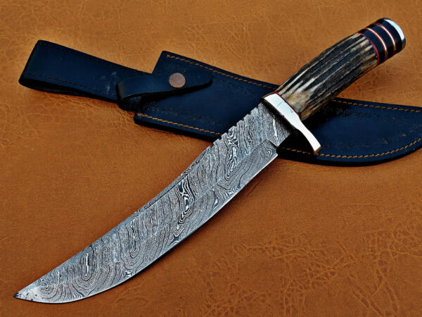 DAMASCUS STEEL BLADE BOWIE KNIFE HANDLE MATERIAL DEER ANTLER DAMASCUS CLIP OVERALL 14 INCH