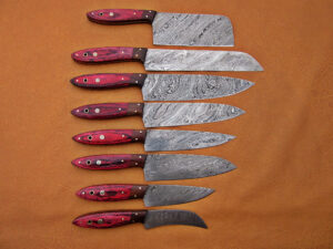 DAMASCUS STEEL BLADE KNIFE CHEF SET RED MICARTA HANDLE WALNUT BOLSTER OVERALL 7-13 INCH