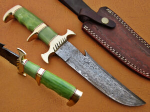 DAMASCUS STEEL BLADE BOWIE KNIFE HANDLE MATERIAL GREEN BONE BRASS CLIP OVERALL 12 INCH