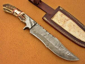 DAMASCUS STEEL BLADE BOWIE KNIFE HANDLE MATERIAL DEER ANTLER DAMASCUS BOLSTER OVERALL 12 INCH