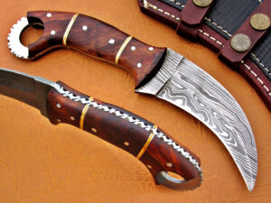 DAMASCUS STEEL BLADE KARMBIT KNIFE HANDLE MATERIAL WALNUT WOOD OVERALL 8 INCH