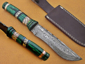 DAMASCUS STEEL BLADE BOWIE KNIFE HANDLE MATERIAL GREEN SHEET OVERALL 12 INCH