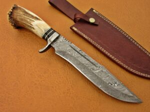 DAMASCUS STEEL BLADE BOWIE KNIFE HANDLE MATERIAL DEER ANTLER DAMASCUS BOLSTER OVERALL 13 INCH