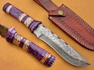 DAMASCUS STEEL BLADE BOWIE KNIFE HANDLE MATERIAL PURPLE BONE OVERALL 12 INCH