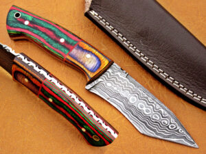 DAMASCUS STEEL BLADE TANTO HUNTING HANDLE MATERIAL WALNUT OLIVE WOOD OVERALL 8 INCH