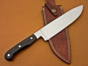 DAMASCUS D2 STEEL BLADE CHEF KNIFE HANDLE MATERIAL BUFFALO HORN OVERALL 12 INCH