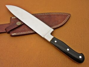 DAMASCUS STEEL BLADE HUNTING KNIFE HANDLE MATERIAL BUFFALO HORN OVERALL 12 INCH