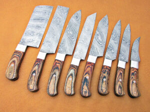 DAMASCUS STEEL BLADE KNIFE CHEF SET NATURAL WOOD HANDLE STEEL BOLSTER OVERALL 6-12 INCH