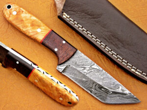 DAMASCUS STEEL BLADE TANTO HUNTING HANDLE MATERIAL WALNUT OLIVE WOOD OVERALL 8.5 INCH