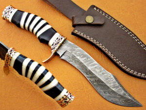 DAMASCUS STEEL BLADE BOWIE KNIFE HANDLE MATERIAL CAMEL BONE BUFFALO HORN OVERALL 12 INCH