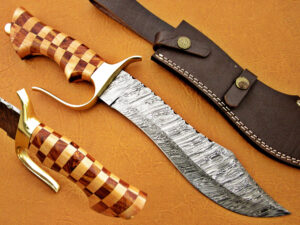 DAMASCUS STEEL BLADE BOWIE KNIFE HANDLE MATERIAL ROSE WOOD OLIVE WOOD OVERALL 13 INCH