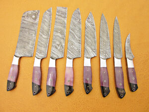 DAMASCUS STEEL BLADE KNIFE CHEF SET PURPLE COLOR BUFFALO HORN HANDLE STEEL BOLSTER OVERALL 6-12 INCH