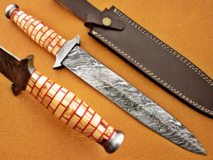 DAMASCUS STEEL BLADE DAGGER KNIFE HANDLE MATERIAL COW WOOD OVERALL 13 INCH