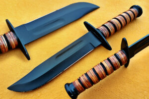 DAMASCUS D2 STEEL BLADE NOWIE KNIFE HANDLE MATERIAL OLIVE WOOD OVERALL 13 INCH