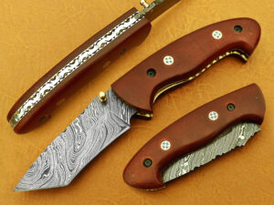 DAMASCUS STEEL BLADE TANTO FOLDING HANDLE MATERIAL WALNUT WOOD OVERALL 7.5 INCH