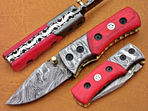 DAMASCUS STEEL BLADE KNIFE FOLDING KNIFE ROSE WOOD HANDLE OVERALL 5.5 INCH
