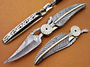 DAMASCUS STEEL BLADE KNIFE LEAF FOLDING KNIFE DAMASCUS HANDLE OVERALL 8.5 INCH
