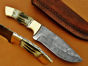 DAMASCUS STEEL BLADE HUNTING KNIFE HANDLE DEER ANTLER BRASS CLIP OVERALL 9 INCH