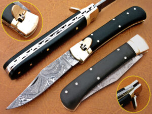DAMASCUS STEEL BLADE SWITCH BLADE FOLDING HANDLE MATERIAL BUFFALO HORN OVERALL 8.5 INCH