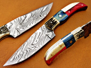 DAMASCUS STEEL BLADE HUNTING KNIFE HANDLE AMERICAN FLAG OVERALL 9 INCH