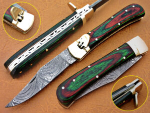 DAMASCUS STEEL BLADE SWITCH BLADE FOLDING HANDLE MATERIAL GREEN WOOD OVERALL 8.5 INCH