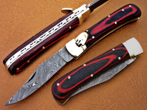 DAMASCUS STEEL BLADE SWITCH BLADE FOLDING HANDLE MATERIAL RED MICARTA OVERALL 8.5 INCH