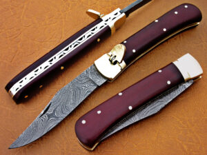 DAMASCUS STEEL BLADE SWITCH BLADE FOLDING HANDLE MATERIAL RED SHEET OVERALL 8.5 INCH