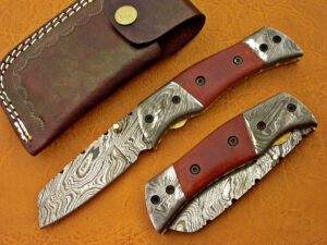 DAMASCUS STEEL BLADE KNIFE FOLDING KNIFE RED MICARTA HANDLE OVERALL 8 INCH